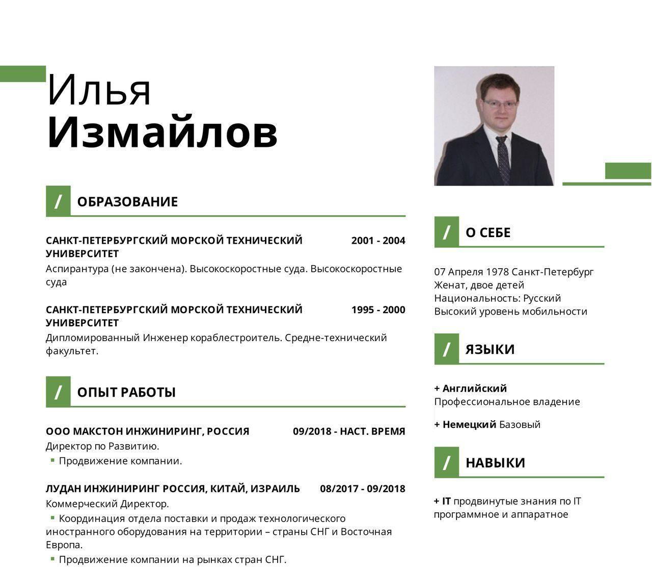 Илья Измайлов 1 без контактов